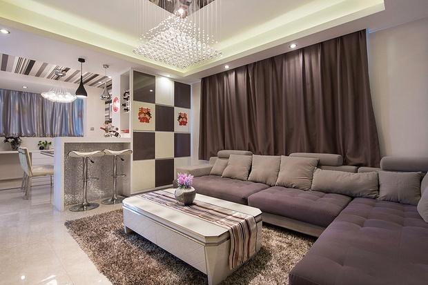 12万装88平现代时尚婚房 黑白条纹演绎优雅