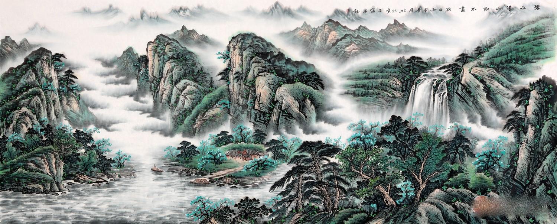 巨型横幅国画山水大�_王宁八尺横幅国画山水作品《碧水清山财不尽》作品来源:易从网